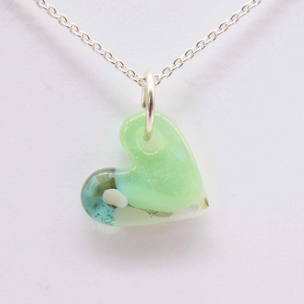 Mint Green glass heart on silver