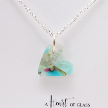 Pastel glass heart on silver #1