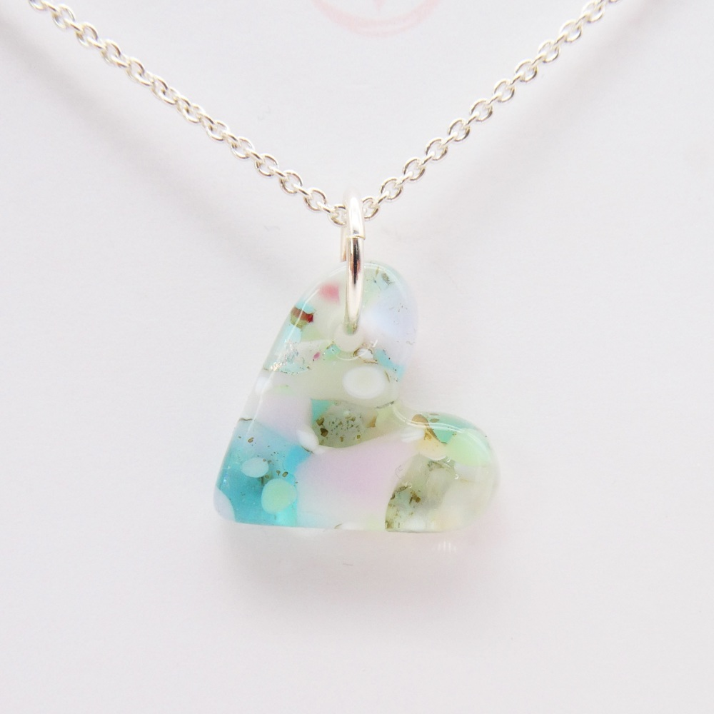 Pastel glass heart on silver #2,