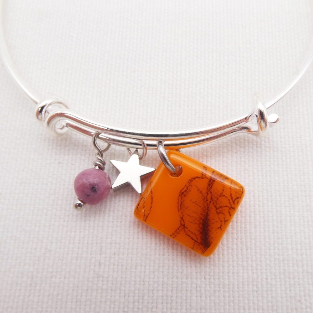 Orange Floral Glass Tile  On a Silver Plated Bangle