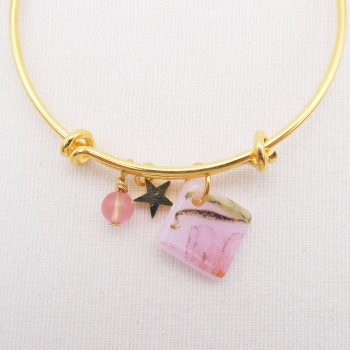 Pink  floral Glass Tile  On a 14K Gold Plated Bangle
