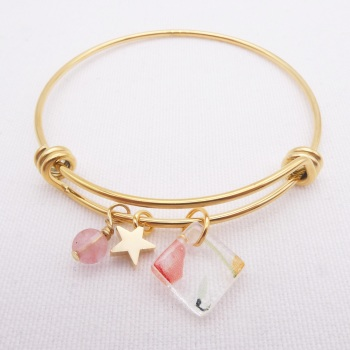 Clear floral Glass Tile  On a 14K Gold Plated Bangle