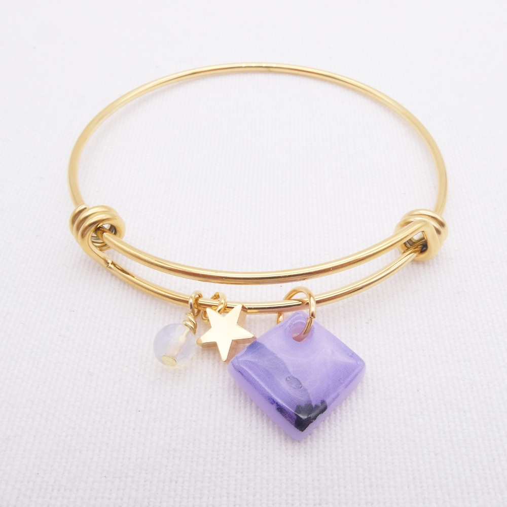 Lilac Glass Tile  On a 14K Gold Plated Bangle