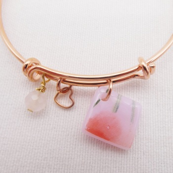 Pink Floral Glass Tile On a Rose Gold Plated Bangle