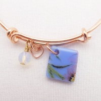 Blue Floral Glass Tile On a Rose Gold Plated Bangle