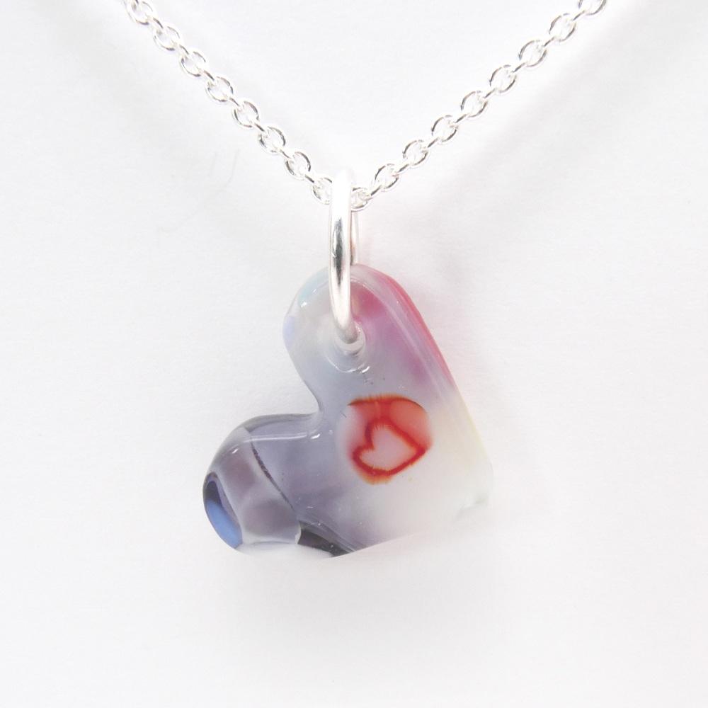 Miliforie glass heart on silver #1