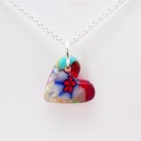 Miliforie glass heart on silver #4