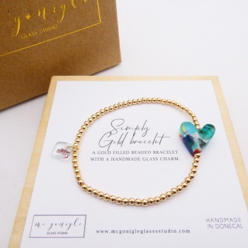 Simply Gold Bracelet with a multicoloured Glass Heart  #3