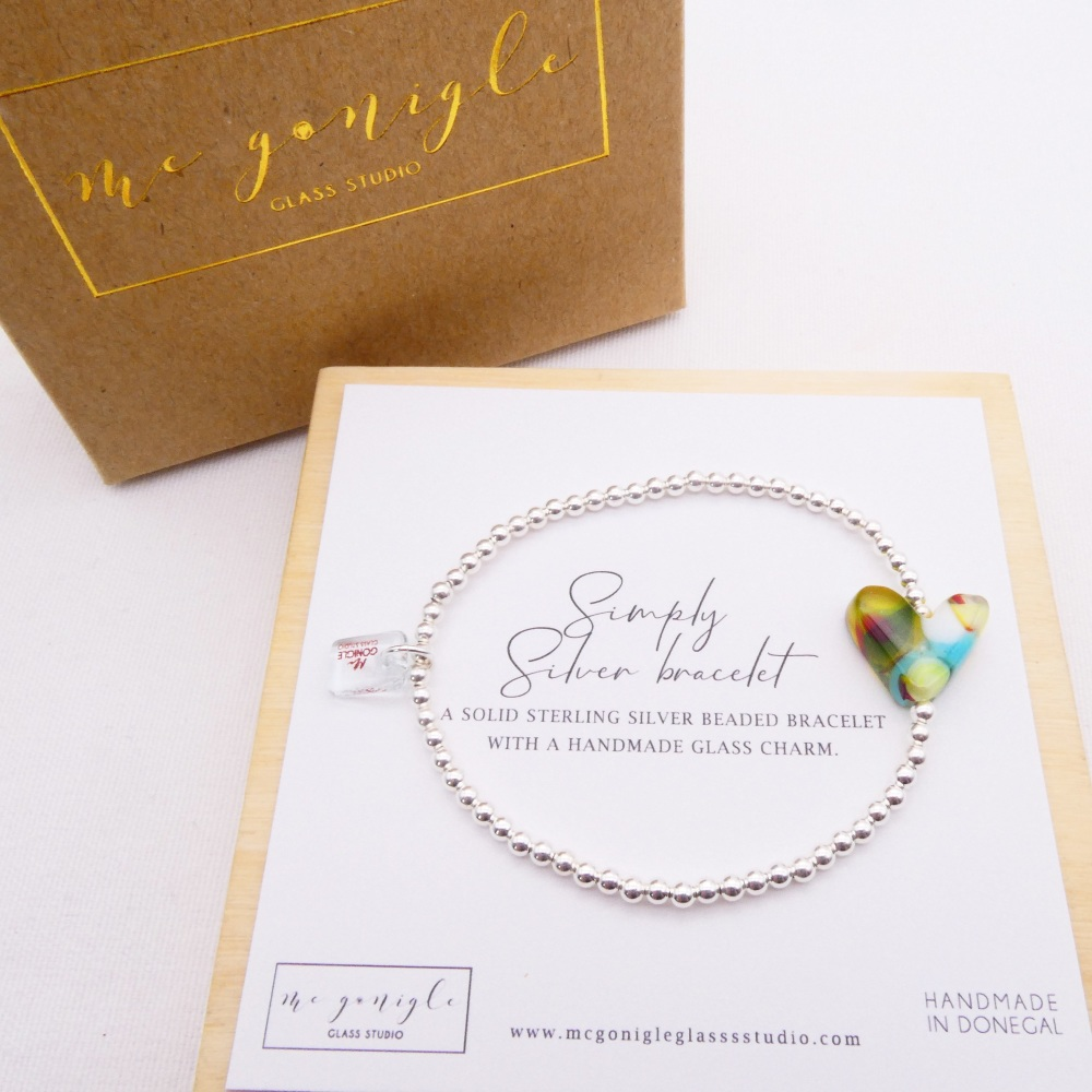 Simply Silver Bracelet with a multicoloured Glass Heart #2