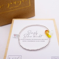 Simply Silver Bracelet with a multicoloured Glass Heart #3