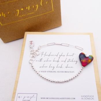 Handcarved glass heart on Silver Long link bracelet #2