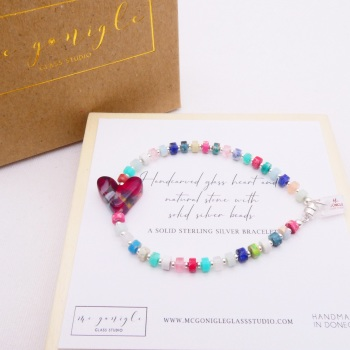 Multicoloured  natural stone bracelet on silver with a red glass heart