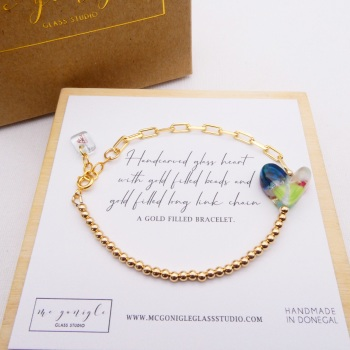 Handcarved glass heart on a Gold filled Long link bracelet with #2