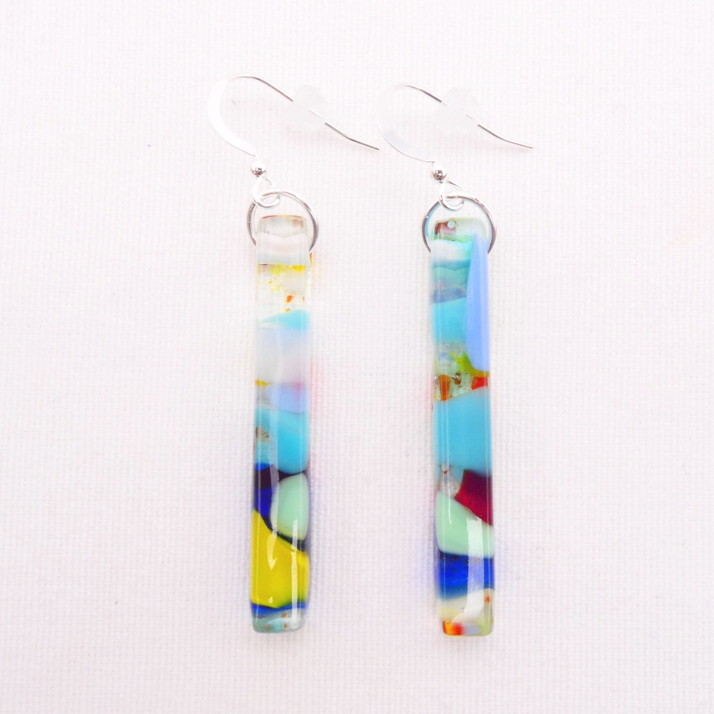Multicoloured  glass pillar earrings on silver #1