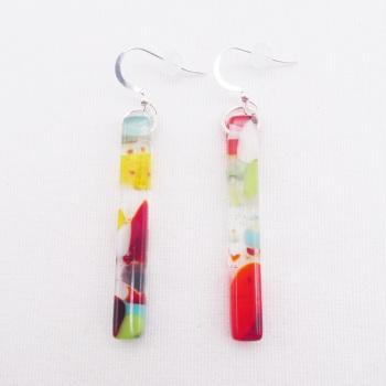 Multicoloured  glass pillar earrings on silver #2