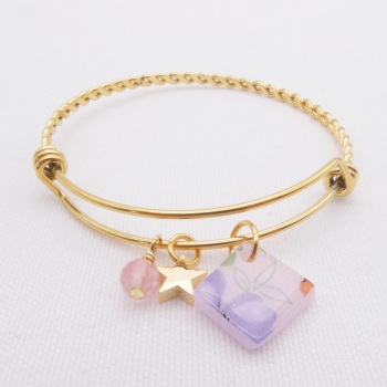 Pink Floral Glass Tile On a Gold Plated Twisted Bangle