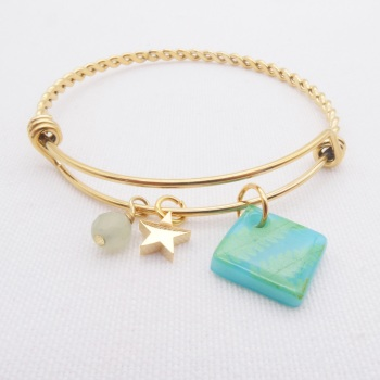 Turquoise Fern  Glass Tile On a Gold Plated Twisted Bangle