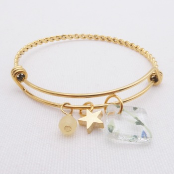 Clear Foliage Glass Tile On a Gold Plated Twisted Bangle