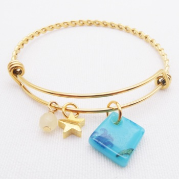Turquoise Floral  Glass Tile On a Gold Plated Twisted Bangle