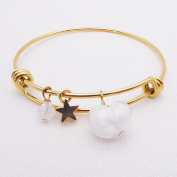 White glass Heart On a 14K Gold Plated Bangle