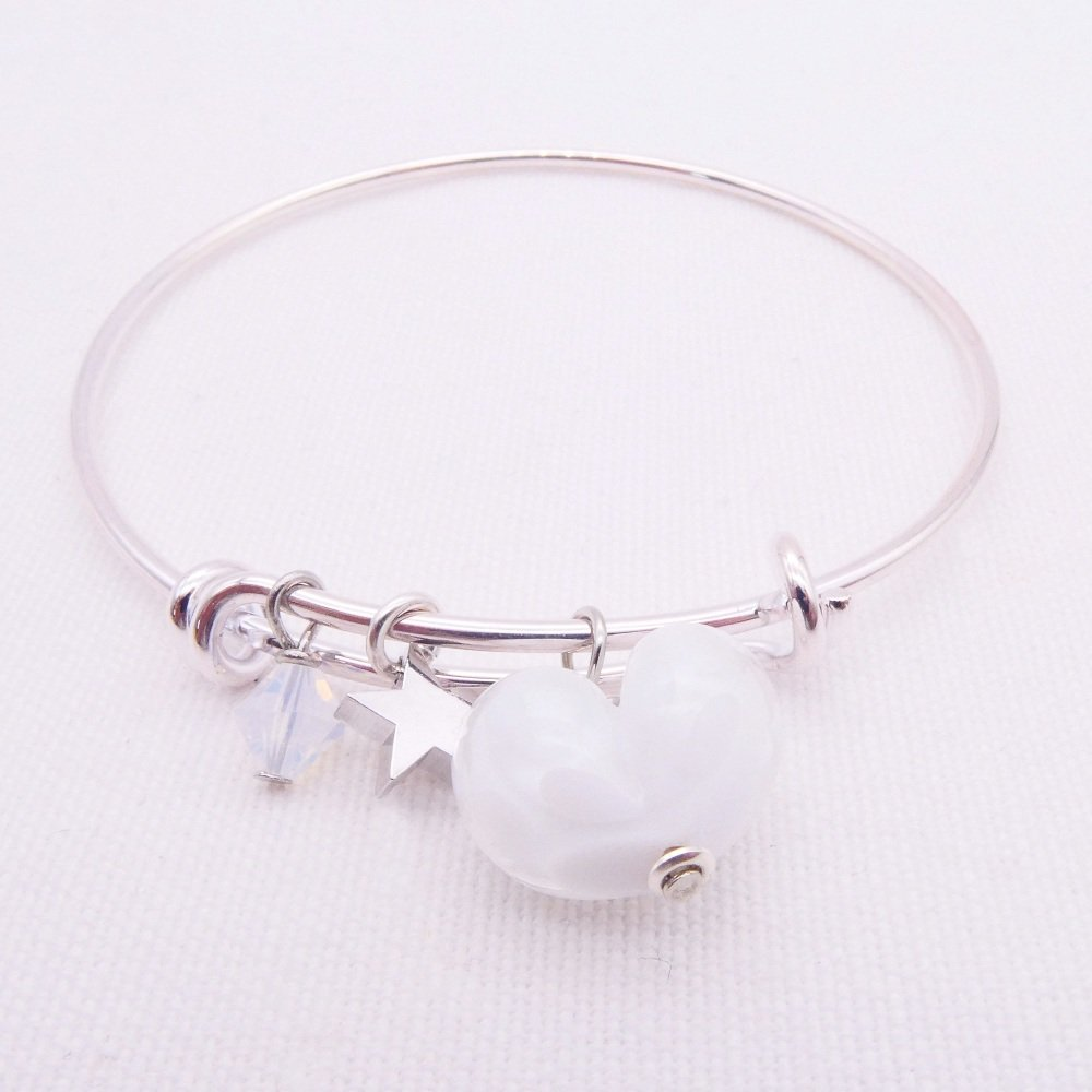 White glass Heart On a silver Plated Bangle