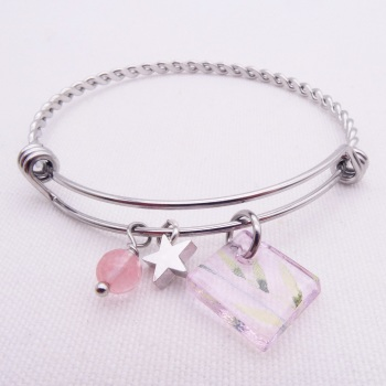 Transparent pink Floral Glass Tile On a Silver Plated Twisted Bangle