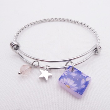 Pink Daisy  Glass Tile On a Silver Plated Twisted Bangle