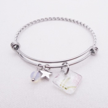 Clear Floral Glass Tile On a Silver Plated Twisted Bangle #2