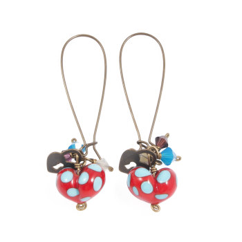 Red and Turquoise Heart Drop Earrings