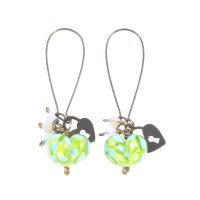 Green and Turquoise Heart Drop Earrings
