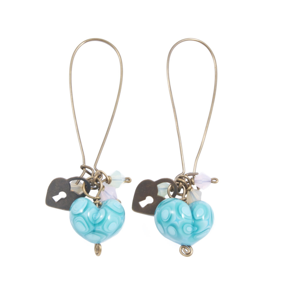 Turquoise Heart Drop Earrings