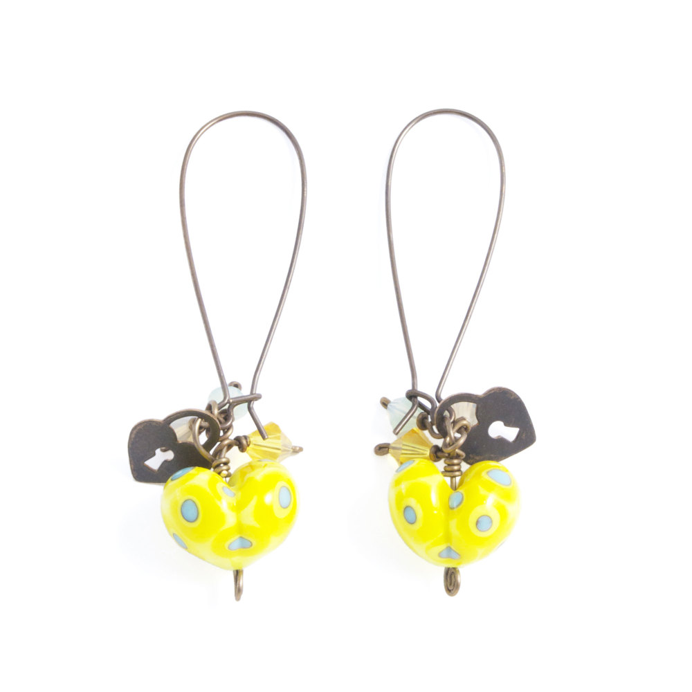 Yellow and Turquoise Heart Drop Earrings