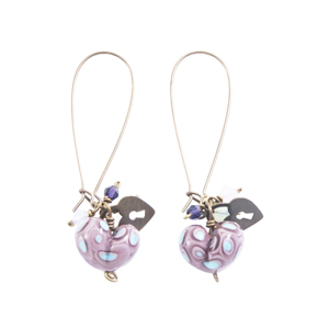 Purple and Turquoise Heart Drop Earrings