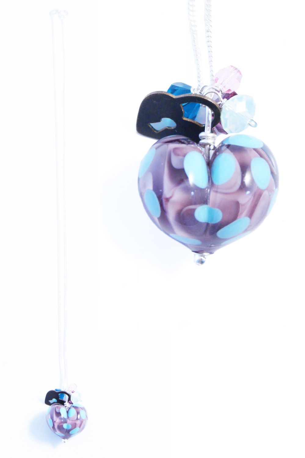 Purple & Turquoise Heart Cluster