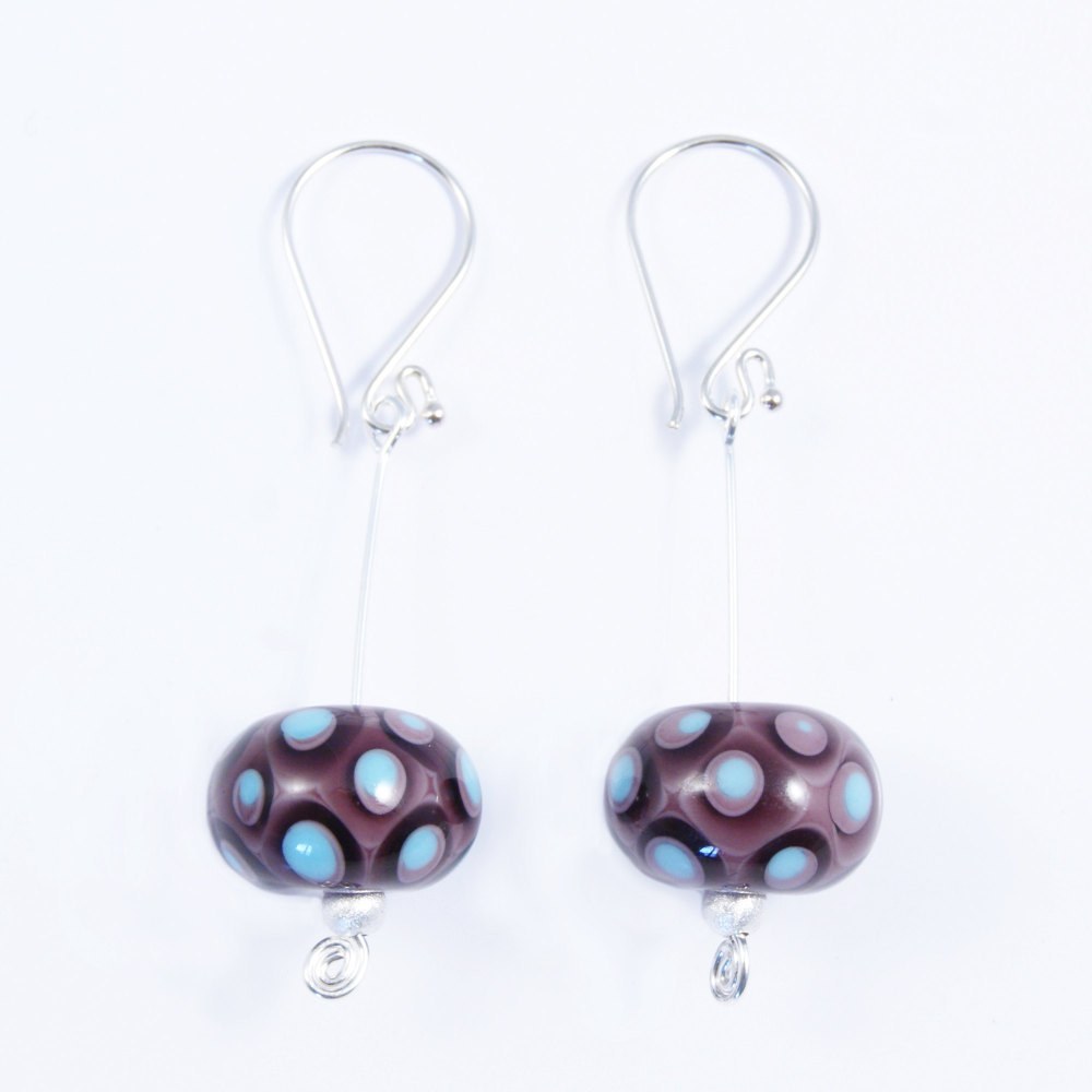Purple and Turquoise Silver Drop Earrings