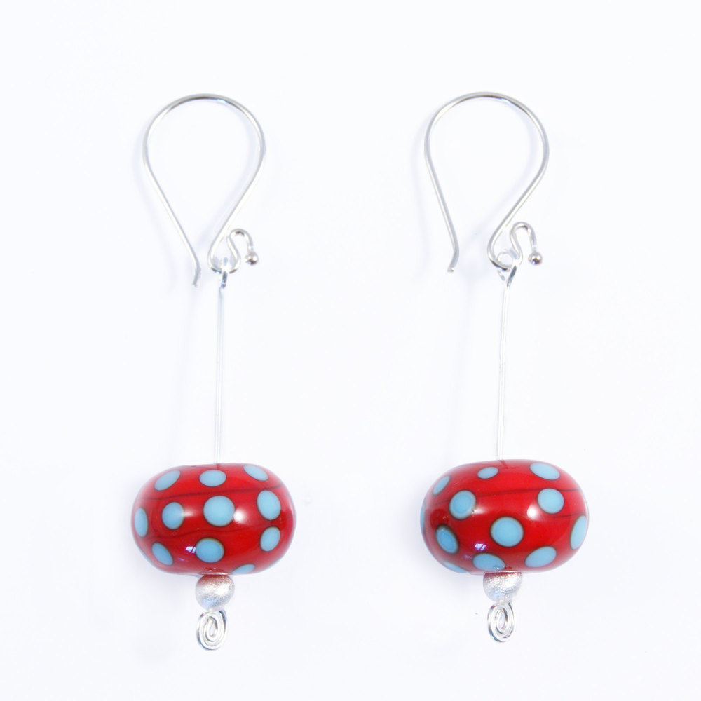 Red and Turquoise Silver Drop Earrings
