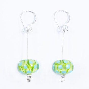 Green and Turquoise Silver Drop Earrings
