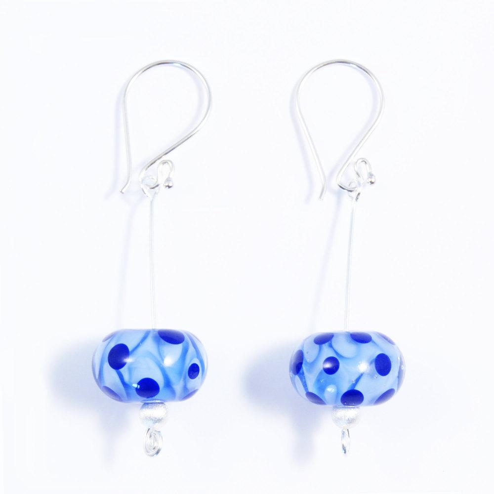 Blue Silver Drop Earrings