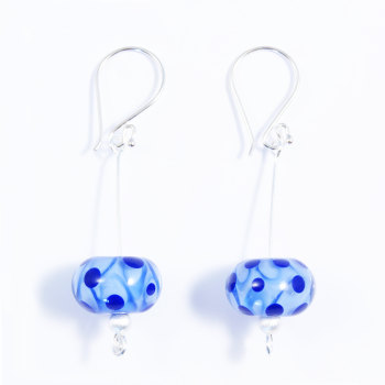 Blue Silver Drop Earrings