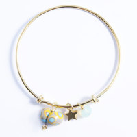Grey and Yellow Heart On a 14K Gold Plated Bangle