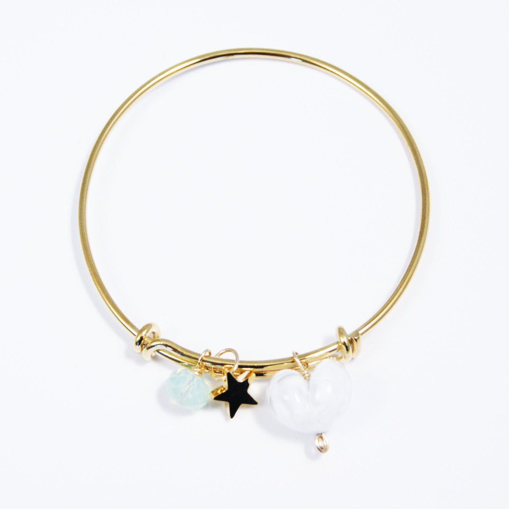 White Heart On a 14K Gold Plated Bangle
