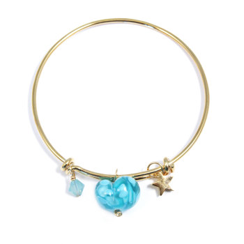 Turquoise Heart On a 14K Gold Plated Bangle