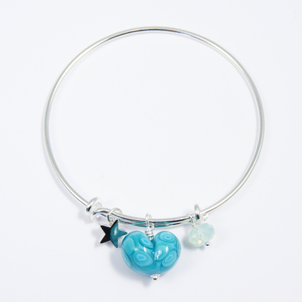 Yellow and Turquoise Heart Silver Bangle