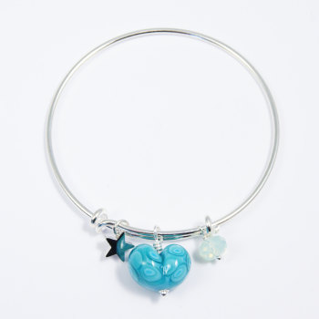Turquoise Heart Silver Bangle