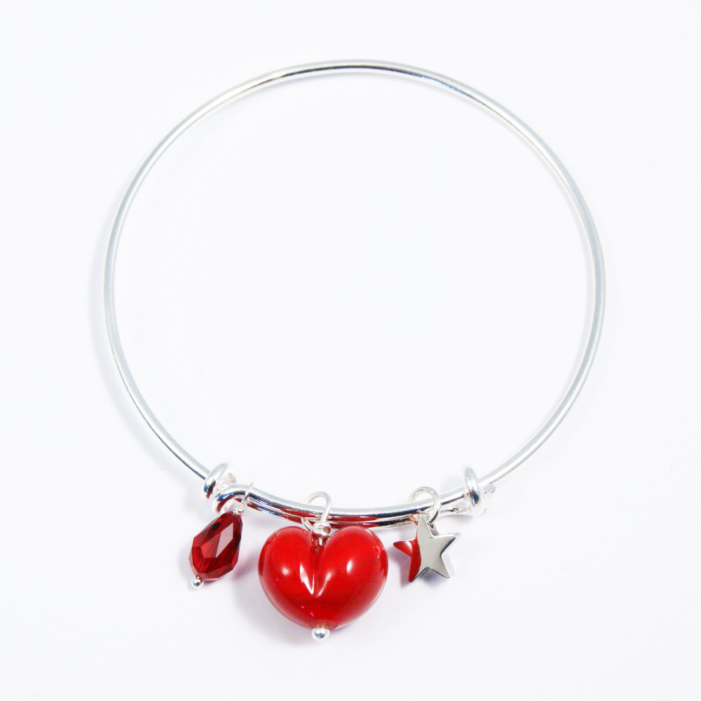 Red Heart Silver Bangle
