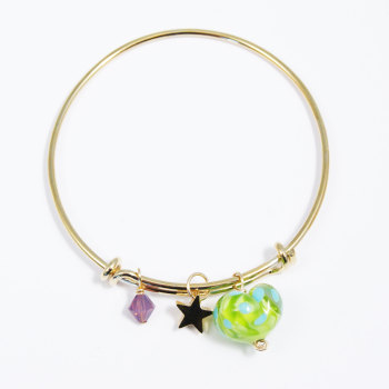 Green and Turquoise Heart On a 14K Gold Plated Bangle