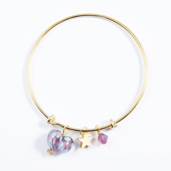 Purple and Turquoise Heart On a 14K Gold Plated Bangle