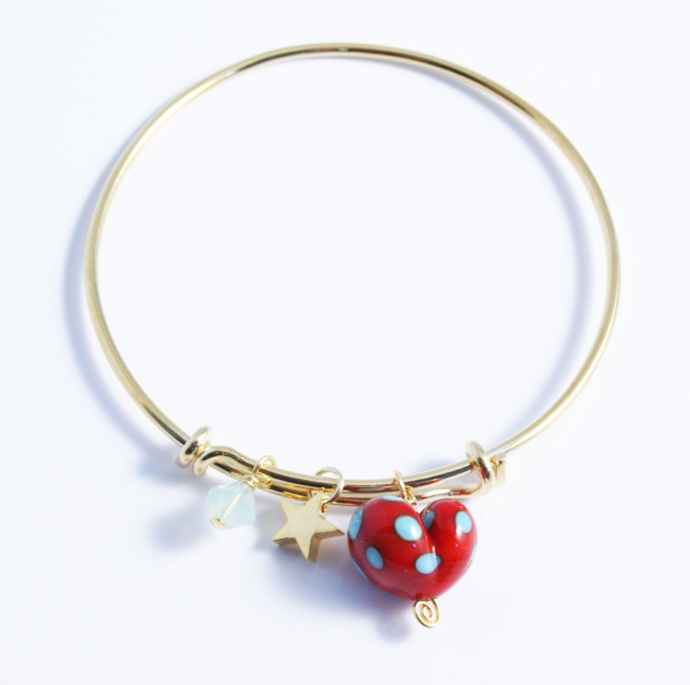 Red and Turquoise Heart On a 14K Gold Plated Bangle