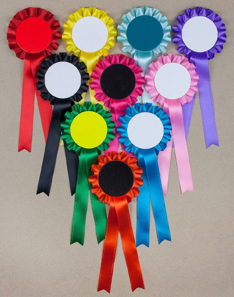 Blank 1-Tier Rosettes x 10 Plain. Decorate/Write on Yourself. Choose own Co