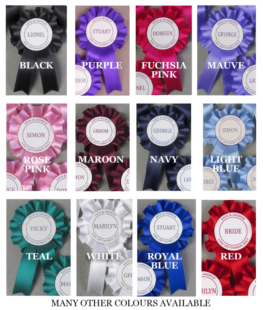 5,10 or 255, 10 or 25 Mini Wedding/Function/Party. Name Rosettes. Personali